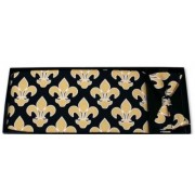 Mardi Gras Saints Gold Fleur De Lis Cummerbund and Bow Tie