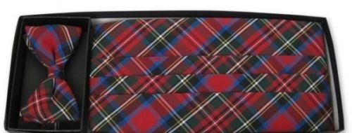 Merry Christmas Plaid Cummerbund and Tie