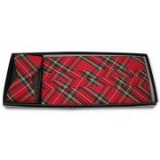 Christmas Holiday Real Plaid Cummerbund and Self Tie Bow Tie