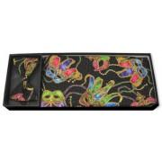 Mardi Gras Mask Black Cummerbund and Bow Tie