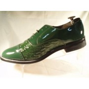 Green Horn Back Alligator Print Cap Toe Lace Tuxedo Shoes