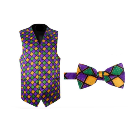 Mardi Gras Windowpane Vest and Bow Tie