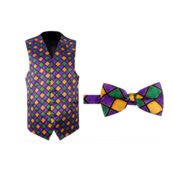 Mardi Gras Bal Masque Tuxedo Vest and Bow Tie