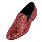 Red Holiday Sparkle Slip-on Tuxedo Shoes