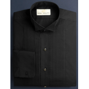 "Neil Allyn Black 1/4"" Pleated Wing Collar Tuxedo Shirt"
