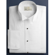 "Neil Allyn White 1/4"" Pleated Wing Collar Tuxedo Shirt"