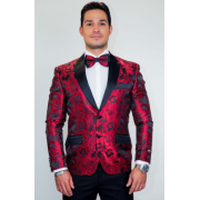 Red Tapestry Floral Slim Fit Tuxedo Jacket