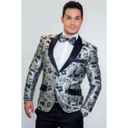 Silver Tapestry Floral Slim Fit Tuxedo Jacket