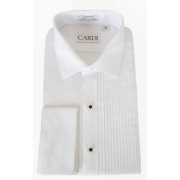 "Charles Slim Fit All Cotton 1/4"" Pleated Laydown Collar Tuxedo Shirt"