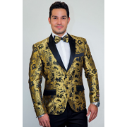 Gold Tapestry Floral Slim Fit Tuxedo Jacket