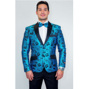 Turquoise Tapestry Floral Slim Fit Tuxedo Jacket