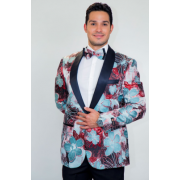 Monte Carlo Red Floral Modern Fit Tuxedo Jacket