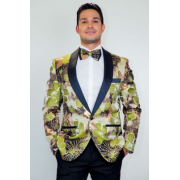 Monte Carlo Green Floral Modern Fit Tuxedo Jacket