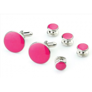 Hot Pink Stone Tuxedo Studs and Cufflinks Silver Trim