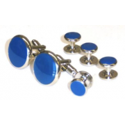 Royal Blue Stone Tuxedo Studs and Cufflinks Silver Trim