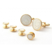 Faux Mother of Pearl Stone Tuxedo Studs and Cufflinks