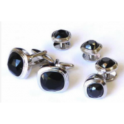 Triple Tier Black Faceted Fiber Optic Stone Studs and Cufflinks