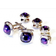 Triple Tier Amethyst Faceted Fiber Optic Stone Studs and Cufflinks