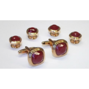 Triple Tier Ruby Faceted Fiber Optic Stone Studs and Cufflinks