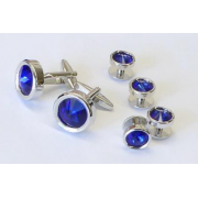 Dark Sapphire Faceted Crystal Stone Studs and Cufflinks