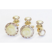 Rhinestone Faux Mother of Pearl Stone Cufflinks and Studs