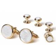 Genuine Mother of Pearl Cufflinks and Studs