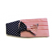 American Flag Seersucker Cummerbund and Tie Set