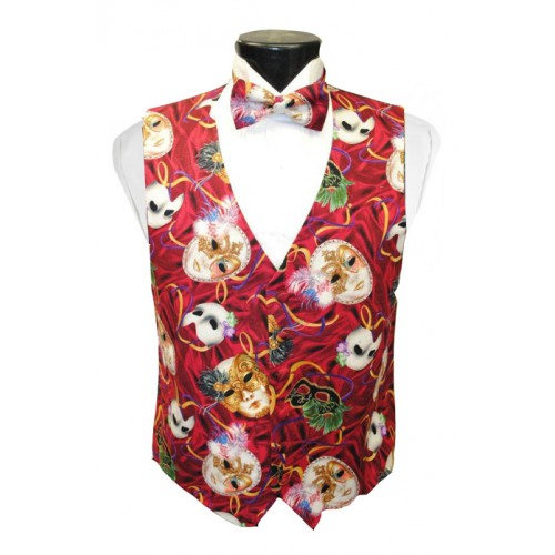 Mardi Gras Phantom Mask Vest and Bow Tie Set