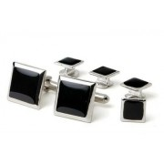 Genuine Onyx Square Polished Tuxedo Studs and Cufflinks