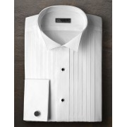 "Ike Behar 1/2"" Pleated Broadcloth Wingtip Collar Tuxedo Shirt"