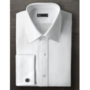 Ike Behar Broadcloth Point Collar Shirt with French Cuffs