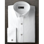 Ike Behar Pique Wing Collar Shirt with French Cuffs.