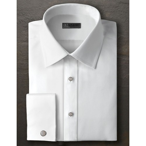 Ike Behar Twill Diagonal Point Collar Shirt with French Cuffs