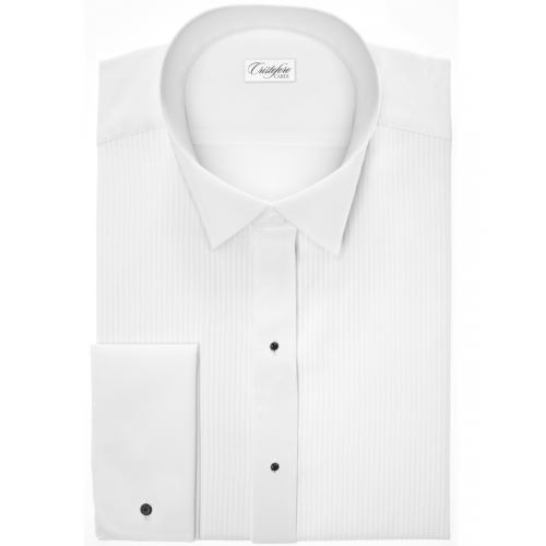 Carlo in White Wingtip Collar Tuxedo Shirt