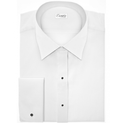 Dominic in White Laydown Collar Tuxedo Shirt