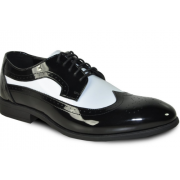 Black and White Patent Two-Tone Wingtip Formal Tuxedo Shoes