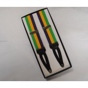 "Mardi Gras 1 1/2"" Tri-Striped Grosgrain Braided End Suspenders"