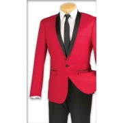 "Red Shawl ""Zegna"" Tuxedo Jacket & Pants Set"