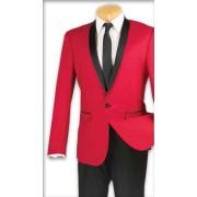 """Red Shawl """"Zegna"""" Tuxedo Jacket & Pants Set"""