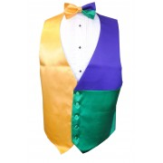 Mardi Gras Block Party Vest and Bow Tie Set