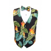 Hawaiian Bird of Paradise Tuxedo Vest and Bow Tie Set