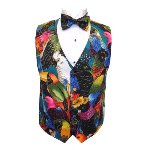 Hawaiian Tropical Birds Tuxedo Vest And Bow Tie Set
