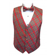 Red Stewart Holiday Tartan Plaid Tuxedo Vest and Bow Tie Set