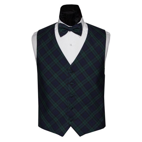 Black Watch Scottish Tartan Plaid Vest and Bow Tie Set