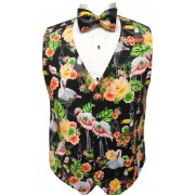 Flamingo and Toucan Tropical Birds Tuxedo Vest and Bow Tie Set