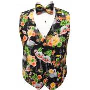 Flamingo and Toucan Tropical Birds Tuxedo Vest and Bow Tie Set