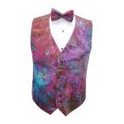 Hawaiian Batik Vest and Bow Tie Set