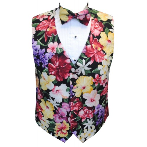 Hawaiian Island Floral Tuxedo Vest and Bow Tie Set