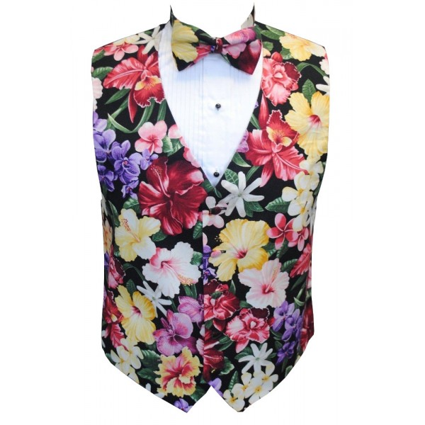 8893775fa2fa Hawaiian Island Floral Tuxedo Vest and Bow Tie Set