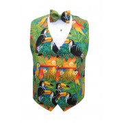 Tropical Bird Paradise Vest and Bow Tie Set